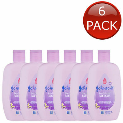 6 x JOHNSON'S BEDTIME BABY BATH SOAP FREE HYPOALLERGENIC SHOWER BULK 200mL