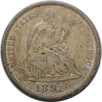 1891 Liberty Seated Dime - AU