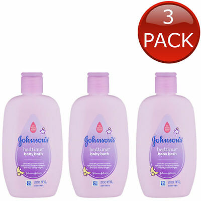 3 x JOHNSON'S BEDTIME BABY BATH SOAP FREE HYPOALLERGENIC SHOWER BULK 200mL