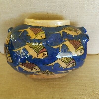 Antique Fish Persian Ottoman Turkish Iznik Faiance Pottery Vase Jar Handpainted