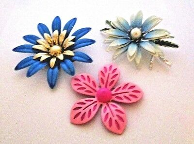 Small lot of 3 Vintage Enamel Metal Flowers Pink and Blue