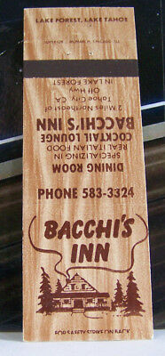 Rare Vintage Matchbook Cover O1 California Tahoe City Bacchi's Inn Dining Room