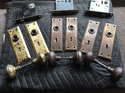 Antique Vintage Hardware 3 Complete Sets of Door Handle, Face Plates & Lock