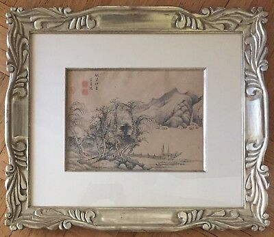 Antique Chinese Original Ink Brush Painting On Paper With Nice Silver Framed