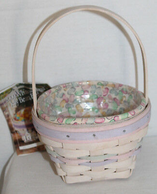 2000  Longaberger Small Easter Basket, Fabric, Protector, Card, White