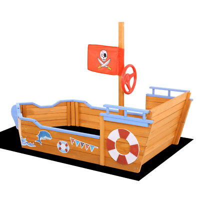 Kids Boat Sandpit Wooden Outdoor Play Sand Pit Children Toys Box Pirate Ship