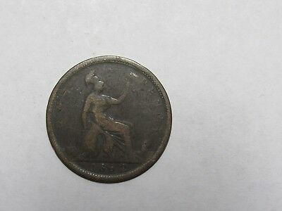 Old Great Britain Coin - 1862 Penny - Circulated, rim dings, spots