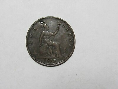 Old Great Britain Coin - 1875 Penny - Holed, spots, obverse design gone