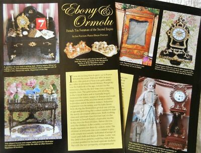 7p History Article  + Pics  Antique French Ormolu Gold & Ebony Doll Furniture