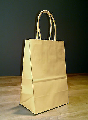5.5 x 3.25 x 8.5 Small Kraft Brown Paper Shopping Gift Bags with Rope Handles