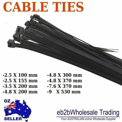 Nylon Cable Tie Ties Black 2.5 3.5 4.8 7.6 9 X 100 150 200 300 370 530mm UV Good