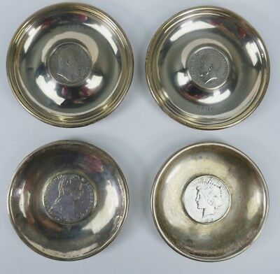 Antique Lot (4) English Silver Coins w/ Plate Scrap Estate Find