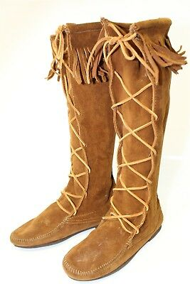 Womens 8 Tall Brown Suede Leather Fringed Moccasin Renaissance Boots xmn