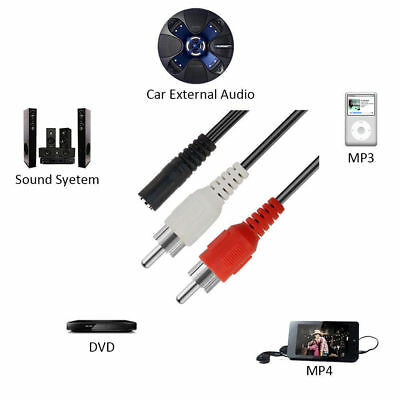 3.5mm AUX Male to 2 RCA Female Splitter Cable Stereo Audio AV Adapter Cord