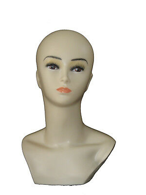 Smiling  Women Mannequin Manikin Head Hat Wig Mould Show Stand Model Cosmetology