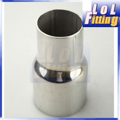 """UK 3"""" 76mm ID To 2.5"""" 63mm OD Stainless Steel Exhaust Pipe Reducer Connector"""