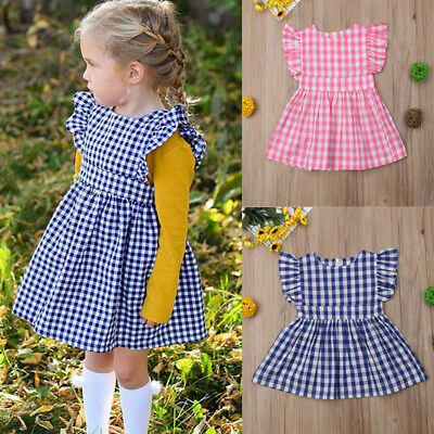 Children Toddler Kids Baby Girl Christmas Plaid Sleeveless Party Dress Clothes