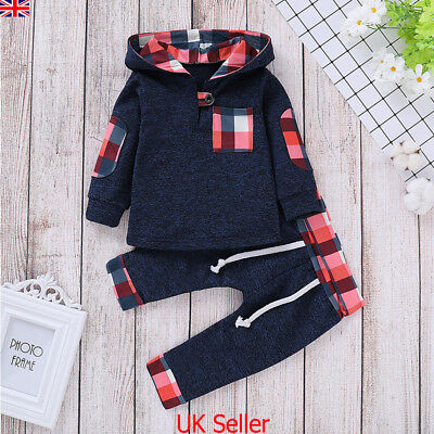 UK Newborn Baby Boy Girl Clothes Hooded Tops Pants Checked Outfits Set Tracksuit