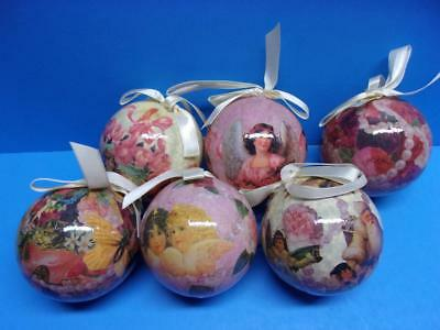 Vintage Decoupage Angel & Santa Christmas Ornaments Balls Victorian Shabby Lot