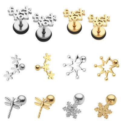 Stainless Steel Helix Cartilage Tragus Stud Earrings Piercing Jewelry Dragonfly