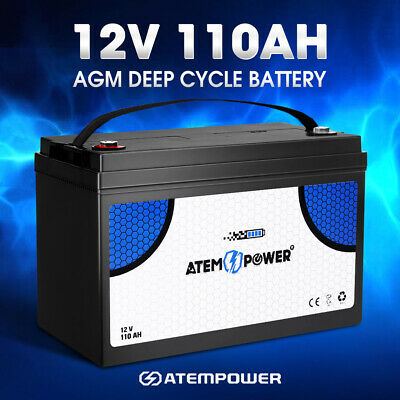 ATEM POWER 12V 110AH AGM Battery Deep Cycle Batteries Camping Marine 4WD Solar
