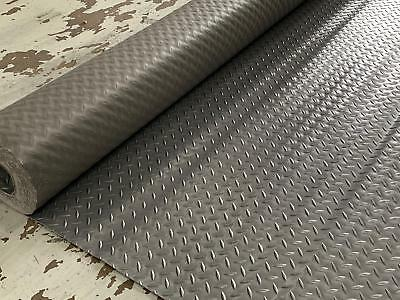 Superior PVC CHECKER PLATE Garage Graphite Rubber Flooring Matting 2M WIDE