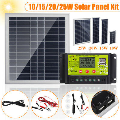 10/15/20/25W Panneau Solaire USB + 10A Solar Chargeur Pince Crocodile Camping RV