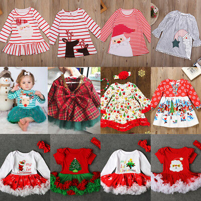 Striped Christmas Newborn Toddler Baby Girls Party Dress Outfits Clothes Lot USA