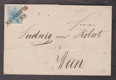 Austria - 1855 Folded letter cover with Michel #5 four margin stamp
