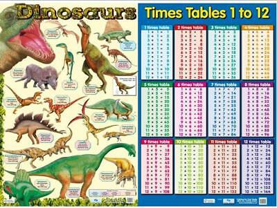 Dinosaur Poster + Times Tables  . Educational / Dinosaurs / Early Learning