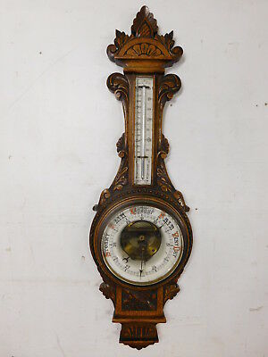 Scarce! Antique 19c Carved Oak Wall Barometer Thermometer Porcelain Faces 1890s