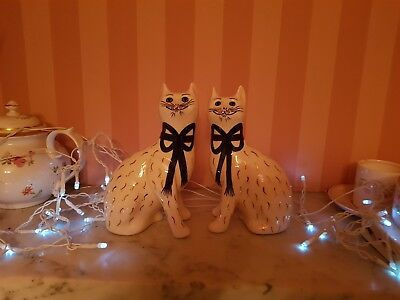 Wemyss Griselda Hill Pottery, -Gold Painted Cats Galle Figures Pair, Signed