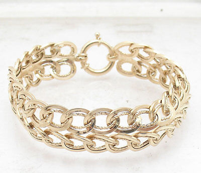 "7.5"" Diamond Cut Double Row Curb Cuban Link Bracelet Real 14K Yellow Gold"