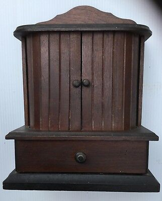 Antique WOODEN SEWING and THREAD BOX  c. 1880