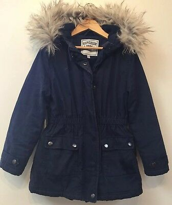 7c204cf4bd06 GIRLS NAVY BLUE Parka With Grey Fur Coat Age 13 Years - £15.00 ...