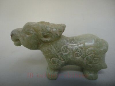 Collect Ancient China Old Jade Carving Auspicious Bull Wealth Pendant Decoration