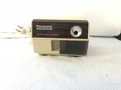 Vintage Panasonic KP-110 Auto Stop Electric Pencil Sharpener Faux Woodgrain