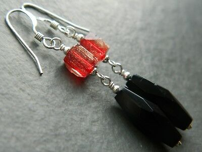 Art Deco French Jet, Red & Aventurine Cathedral Glass Beads, 925 Silver Earrings