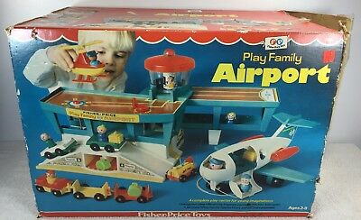 Vintage 72-76 Fisher Price No. 996 Play Family Airport 100% Complete With in Box