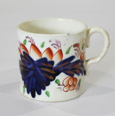 Antique Staffordshire Gaudy Welsh Grape Pattern Small Cup Coffee Can