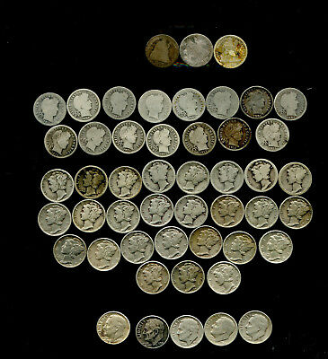 Roll Of 50 Different Dimes Seated, Barber, Mercury, Roosevelts 1875-1963   Circ