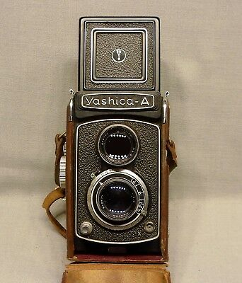 Vintage Yashica-A Camera with Original Leather Case
