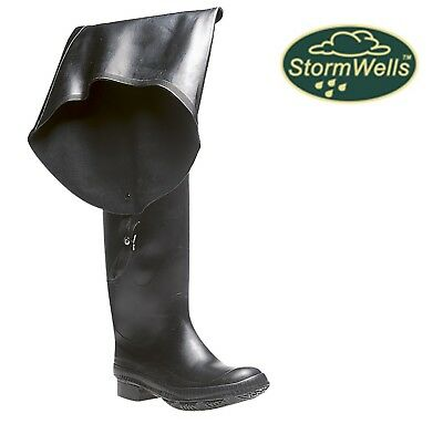FISHING WADERS Men's Black Rubber Thigh High Wellingtons - Size 6 7 8 9 10 11 12