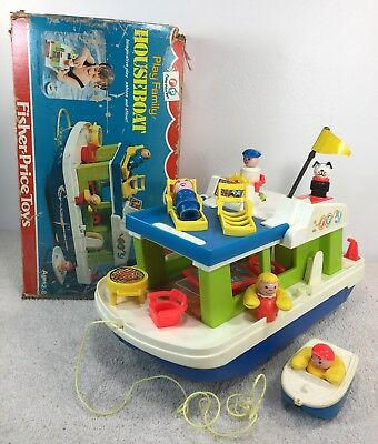 Vintage Fisher Price Little People Family Houseboat 985 Complete w Box 72-76
