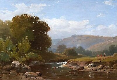 River Teign Antique Oil Painting by William Williams of Plymouth (1808 -1895)
