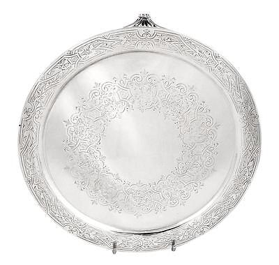 """Antique Victorian Sterling Silver 8"""" Tray/Salver - 1885"""