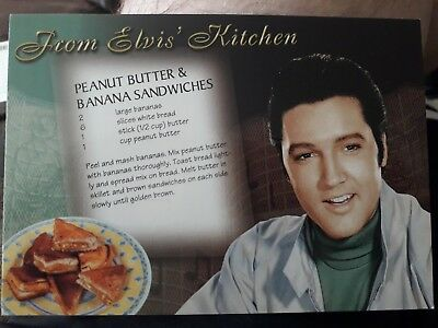 Postcard From Elvis,s kitchen featuring peanut butter @ banana sandwiches