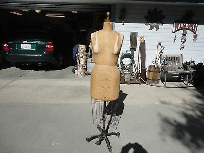 Vintage WOLF DRESS FORM w/Cage Cast Iron Base On Wheels Size 14P MODEL 1959 Excl