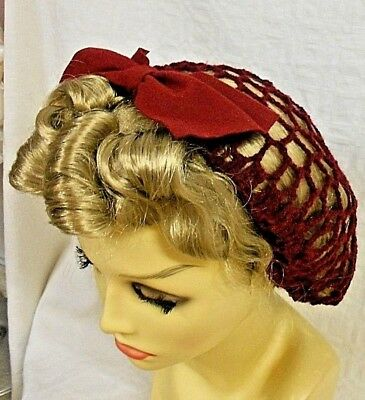 VINTAGE STYLE 1940's HAND CROCHET WINE RED SNOOD HAIRNET WITH BOW