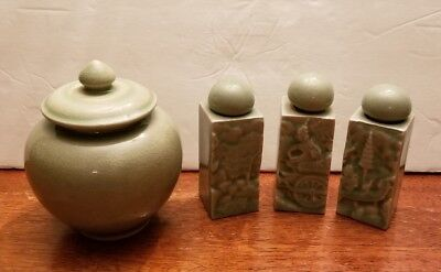 Siam Celadon of Thailand  Glaze green pieces Jar with lid and decorative bottles